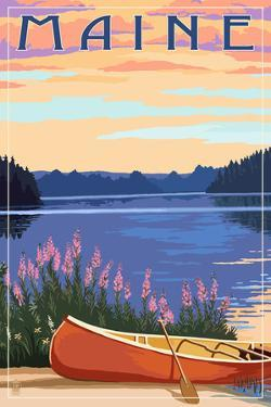 Maine - Canoe and Lake by Lantern Press