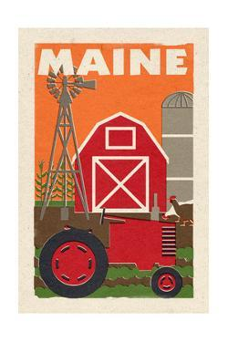 Maine - Country - Woodblock by Lantern Press
