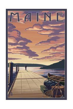 Maine - Dock Scene and Lake by Lantern Press