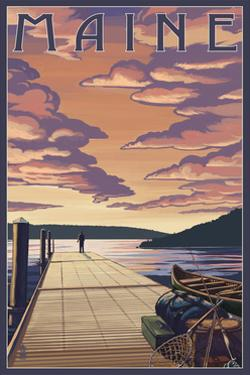 Maine - Dock Scene and Lake by Lantern Press