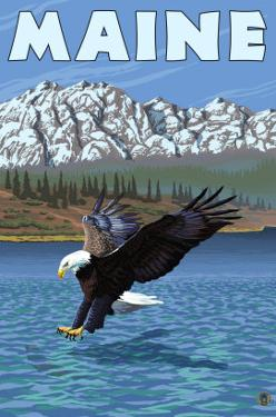 Maine - Eagle Fishing by Lantern Press