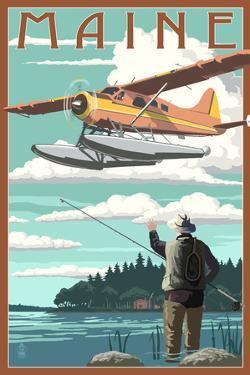 Maine - Float Plane and Fisherman by Lantern Press