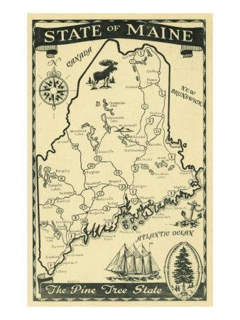 Maps of Maine Posters for sale at AllPosterscom