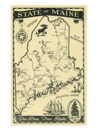 Maine, Highway Map of the Pine Tree State Scene by Lantern Press