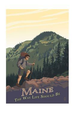 Maine - Hiking Scene - the Way Life Should Be by Lantern Press