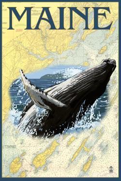 Maine - Humpback Whale and Nautical Chart by Lantern Press