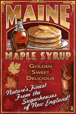 Maine - Maple Syrup Vintage Sign by Lantern Press