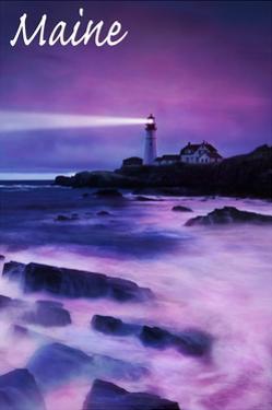 Maine - Portland Head Light at Dusk by Lantern Press