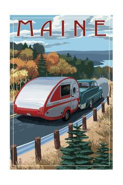 Maine - Retro Camper on Road by Lantern Press