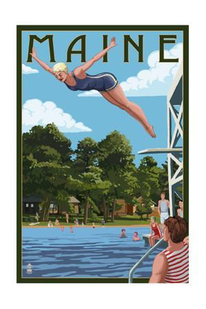 Maine - Woman Diving and Lake by Lantern Press