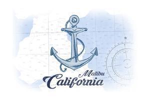 Malibu, California - Anchor - Blue - Coastal Icon by Lantern Press