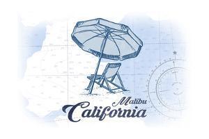 Malibu, California - Beach Chair and Umbrella - Blue - Coastal Icon by Lantern Press