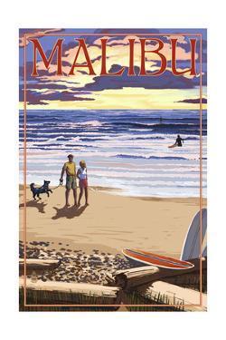 Malibu, California - Beach Scene and Surfers by Lantern Press