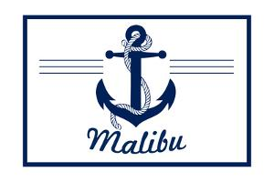 Malibu, California - Blue and White Anchor by Lantern Press