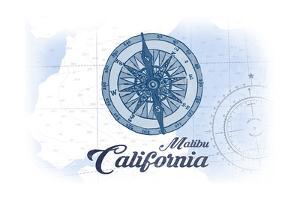 Malibu, California - Compass - Blue - Coastal Icon by Lantern Press