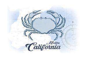 Malibu, California - Crab - Blue - Coastal Icon by Lantern Press