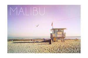 Malibu, California - Lifeguard Shack Sunrise by Lantern Press