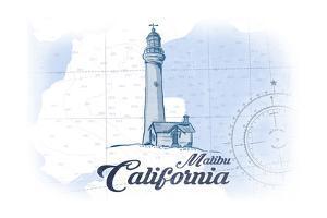 Malibu, California - Lighthouse - Blue - Coastal Icon by Lantern Press