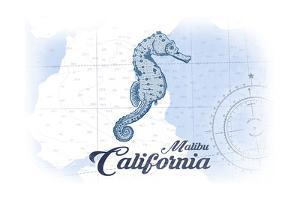 Malibu, California - Seahorse - Blue - Coastal Icon by Lantern Press