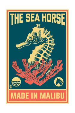 Malibu, California - Seahorse Woodblock (Blue and Pink) by Lantern Press