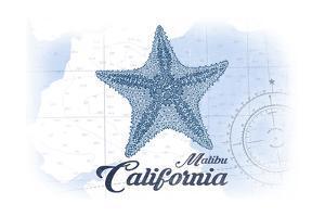 Malibu, California - Starfish - Blue - Coastal Icon by Lantern Press