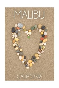 Malibu, California - Stone Heart on Sand by Lantern Press