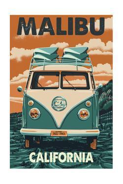 Malibu, California - VW Van by Lantern Press