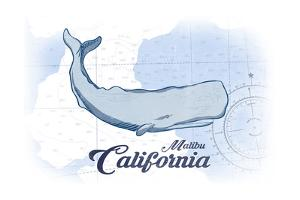 Malibu, California - Whale - Blue - Coastal Icon by Lantern Press