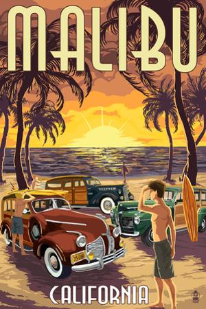 Malibu, California - Woodies on the Beach by Lantern Press