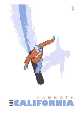 Mammoth, California, Stylized Snowboarder by Lantern Press