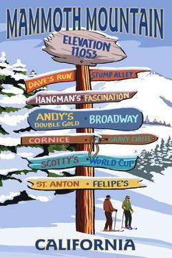 Mammoth Mountain, California - Ski Signpost by Lantern Press