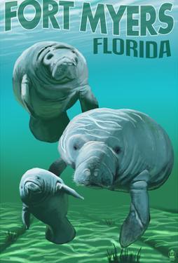 Manatees - Fort Myers, Florida by Lantern Press