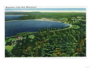 Manchester, New Hampshire - Aerial View of Massabesic Lake near City by Lantern Press
