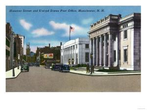 Manchester, New Hampshire - Hanover Street View of the Post Office by Lantern Press