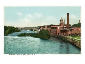 Manchester, New Hampshire, Merrimack River View of Factories by Lantern Press