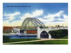 Manchester, New Hampshire - View of the Notre Dame Bridge by Lantern Press