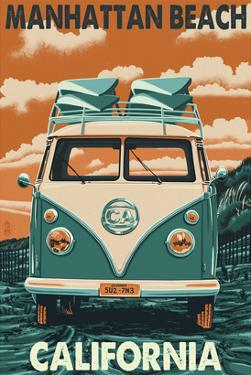 Manhattan Beach, California - VW Van by Lantern Press