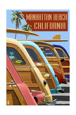 Manhattan Beach, California - Woodies Lined Up by Lantern Press
