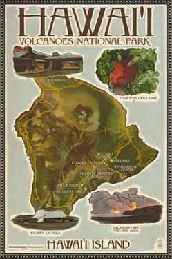 Map of Hawaii - Hawaii Volcanoes National Park by Lantern Press