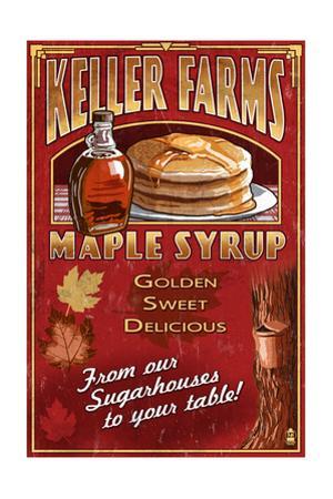 Maple Syrup Farm - Vintage Sign by Lantern Press