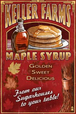 Maple Syrup Farm - Vintage Sign by Lantern Press