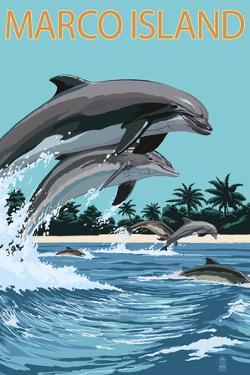 Marco Island - Dolphins Jumping by Lantern Press