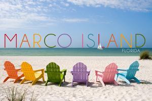 Marco Island, Florida - Colorful Beach Chairs by Lantern Press