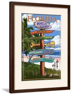 Marco Island, Florida - Destinations Signpost by Lantern Press
