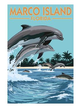 Marco Island, Florida - Dolphins Jumping by Lantern Press