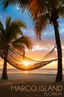 Marco Island, Florida - Hammock and Sunset by Lantern Press