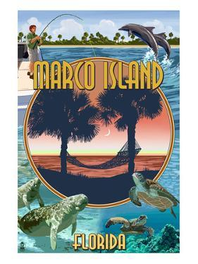Marco Island, Florida - Montage Scenes by Lantern Press