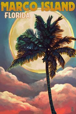 Marco Island, Florida - Palms and Moon by Lantern Press