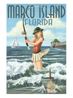 Marco Island, Florida - Pinup Girl Surf Fishing by Lantern Press