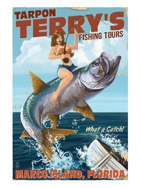 Marco Island, Florida - Pinup Girl Tarpon Fishing by Lantern Press